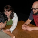 Jaguer Heier, Brigitte Ditmars and Matt W. Miles as Robbie, Adult Nicole and Adult Sam in The Big Meal at TLP